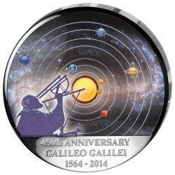 6253 Congo 30 Francos 2014 Prata BU 450 Anos Aniversário de Galileu Galilei
