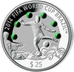 6269 ::RARA:: Fiji 25$ 2013 Prata 3oz 93gr. - Copa do Mundo 2014 C/ Malaquitas - Apenas 500 no Mundo!!