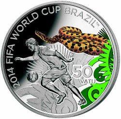 6271 Vanuatu 50 vatu 2012 Prata Copa do Mundo 2014 Jiboia