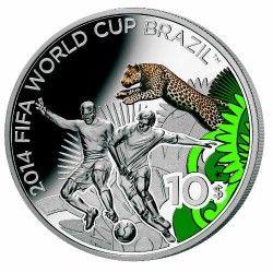 6273 Fiji 10 dolares 2012 Prata Copa do Mundo 2014 Jaguar
