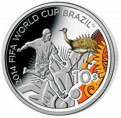 6274 Ilhas Salomão 10 dolares 2012 Prata Copa do Mundo 2014 Ema do pantanal