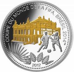 6277 Congo 1000 Francos 2012 Prata Copa do Mundo 2014 São Paulo - com detalhe em ouro