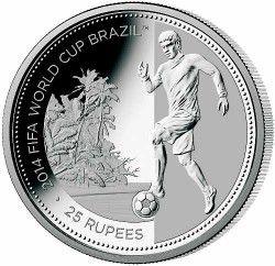 6292 Seychelles 2012 Prata Copa do Mundo 2014 JOGADOR de FUTEBOL