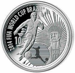 6306 Ilhas Cook 2012 Prata Copa do Mundo 2014 Indio Karajas - Moeda com efeito especial