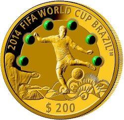6309 Fiji 2013 Ouro 31,10 g Copa do Mundo 2014 com Malaquita Apenas 150 no Mundo!!