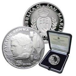 6310 San Marino 5 Euros 2014 Prata Proof 20 Anos da Morte de Ayrton Senna