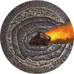 6346# Niue 1 $ 2015 Prata e fragmento de Meteorito de 5000 anos - Apenas 576 moedas no mundo!