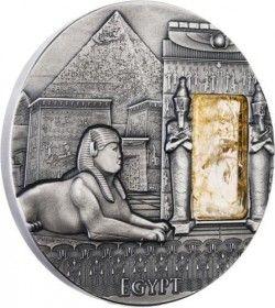 6348 Niue 2 $ 2015 Prata 2 oz - Império Egipcio com Cristal Citrino