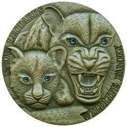 6350 Niue 1 $ 2015 Prata Antique Finish - Leopardo da Neve - Apenas 500 Exemplares!!
