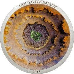 6353 ILHAS Cook 5 $ 2014 Prata - Meteorito Moldavite com autêntico fragmento embutido