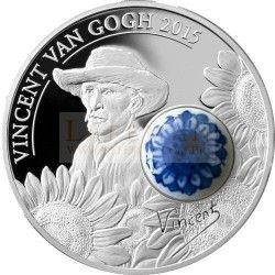 6366 Ilhas Cook 10$ 2015 Prata Proof 50 gr. 125º Aniversário Van Gogh com Porcelana Delft Real