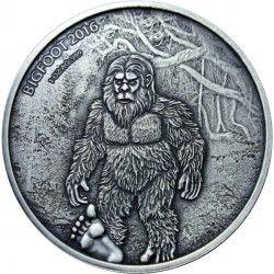 6403 Bukina Faso 1000 francos 2016 Prata antique finish Lendário Sasquatch - Bigfoot Apenas 350 peças no mundo!