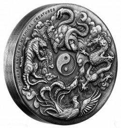 6415 Tuvalu 2$ 2016 prata 2oz Criaturas Místicas Chinesas - apenas 1500 exemplares!