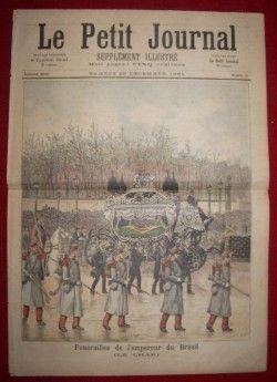 DC0006 RARIDADE! Edição de jornal francês de 1891 noticiando os funerais do Imperador Dom pedro II em Paris com gravura