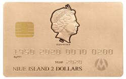 """6506 Niue 2 $ 2020 prata / ouro 999 46,46 g  70 Anos do Cartão de Crédito  """" ouro """""""