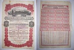 DC0004 Titulo de ações Compania ferroviaria Brasileira 1912