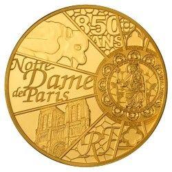 6155 França 50 Euros 2013 Ouro Proof 1/4 oz UNESCO - Aniversário 850 anos de Notre Dame de Paris