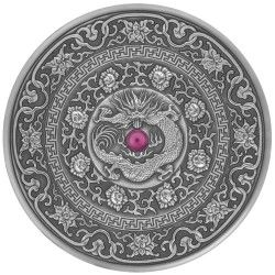 6435 Fiji 10 $ 2017 Prata 999 Ø50mm  93gr Antique Finish - MANDALA ART IlI Dragão CHINES Apenas 500 Exemplares