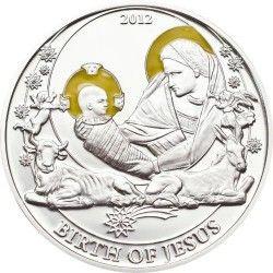 6186 Palau 2$ 2012 Prata Proof Série Histórias Bíblicas: Nascimento de Jesus