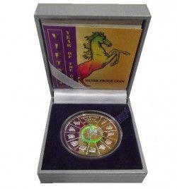 5679 ¤RARA¤ VIETNAM 10.000 Dong 2001 Ø39mm Prata Proof Zodiaco chinês - Cavalo c/ Holograma