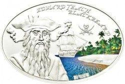 6158 Vanuatu 50 Vatu 2012 Prata Proof - Piratas Famosos I: Edward Barba Negra